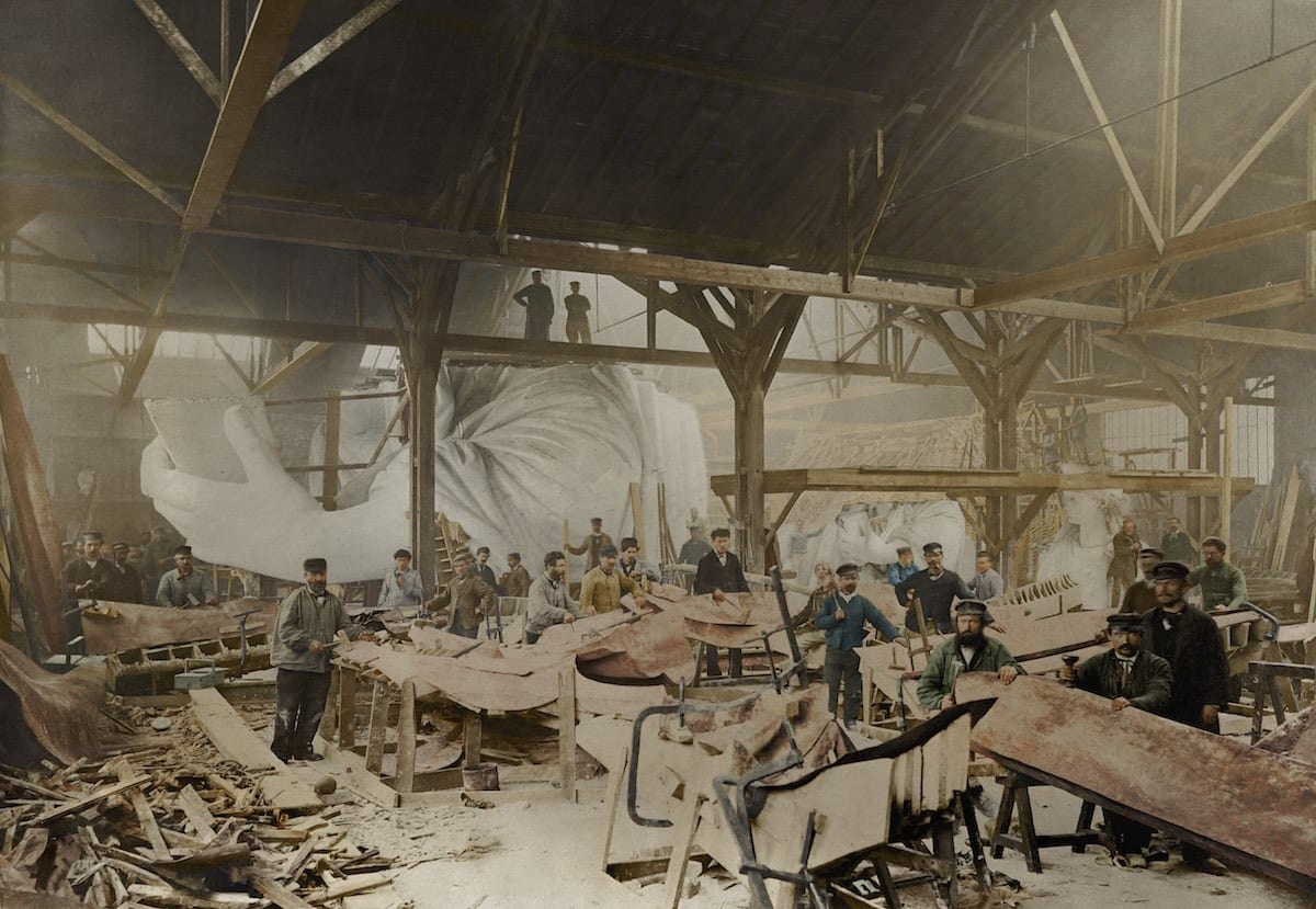 1882 - The Statue of Liberty inside French sculptor Frédéric Auguste Bartholdi's workshop in Paris