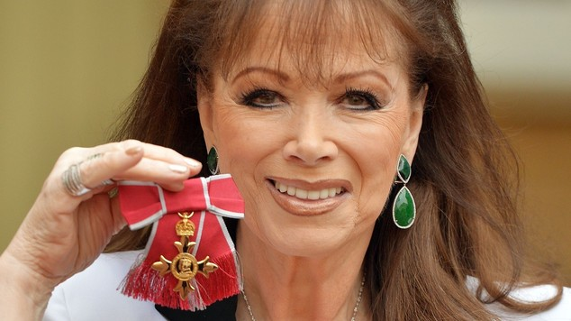 Novelist Jackie Collins after being presented with the OBE at Buckingham Palace