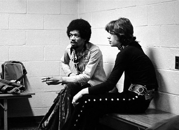 Jimi Hendrix and Mick Jagger in 1969